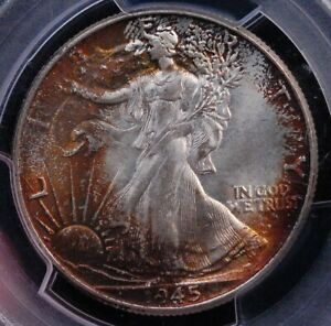 1945 WALKING LIBERTY  PCGS MS 65 BRILLIANT CENTER WITH A VIVID RUSTY PENUMBRA