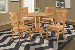 "42"" BURLINGTON DINETTE DINING TABLE SET WOODEN SEAT CHAIRS OAK FINISH"