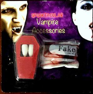 DRACULA VAMPIRE FANGS HALLOWEEN CAPS FAKE TEETH ADHESIVE FANCY DRESS,MAKE UP NEW