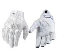 Motorrad Handschuhe Leder + Kohlefaser weiß schwarz Schutz Style WoW Neu cool in