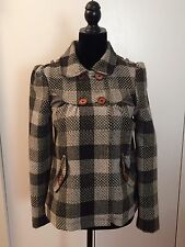 Billabong Women's Coat Black White Plaid Wool Long Sleeve Coat Size Small