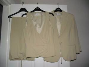 MNG Mango Beige Camel 3 Piece Ladies Suit uk12...Weddings, Races, Workwear