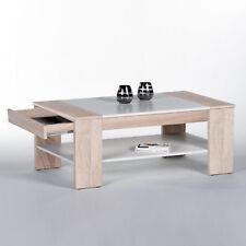 Couchtisch Sonoma Eiche und weiß Wohnzimmertisch Finley Plus Tisch100x58 cm
