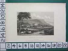 c1830 ANTIQUE YORKSHIRE PRINT ~ VIEW OF WILTON CASTLE SEAT OF JOHN LOWTHER