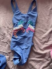 New listing Marks And Spencer Unicorn Swimming Costume Age 7-8 Blue Sequin