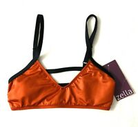 Zella Ladder Back Bikini Top Small Spf 50+ Rust Orange Lap Swimming SUP Yoga