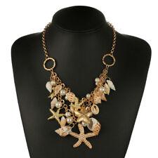 Sweet Chunky Gold Tone Sea Shell Starfish Pearl Bib Statement Necklaces Gift