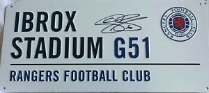 RANGERS IBROX STADIUM G51 STREET SIGN HAND SIGNED By CONNOR GOLDSON