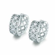 Fashion Hollow White Gold Filled Huggies Diamond Women Lady Hoop Party Earrings