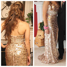 Night Moves Style 6755 Light Gold Prom Dress with Corset Size 4 (gently used)