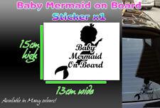 Baby Mermaid On Board Car Sticker decal sign vinyl any colour 15cm x 13cm