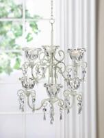 WHITE baroque crystals iron scrollwork shabby hanging Candle Holder Chandelier