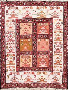 Silk Geometric Tribal Sumak Traditional Oriental Area Rug Handmade Carpet 2x3