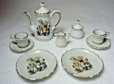 Miniature M.J. Hummel Hansel & Gretal Tea Set Gold Trim 9 Piece