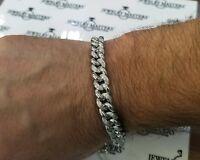 "Men's Real Diamond Miami Cuban Link Bracelet 1 CT 9mm 10k White Solid Gold 8"""