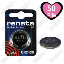 50 PILE 3V CR2430 CR 2430 BATTERIA BOTTONE PILA A LITIO RENATA