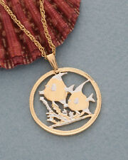 """Tropical Fish Pendant & Necklace ,Belize Coin Hand Cut 1"""" in Diameter ( # 649 )"""