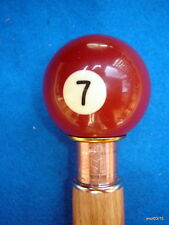 brown functional Pecan/Oak *lucky 7-pool-ball* security CANE/WALKING-STICK~gift