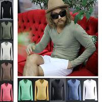 ByTheR Men's Fashion Urban Basic Casual Cotton Long Sleeve V Neck T-shirt UK
