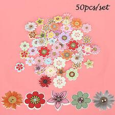 50Pcs Botones De Madera Mixta Flores Costura Botones Decoración Artesanía