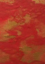 "RED GOLD ABSTRACT Original Gouache ACEO Painting 3.5""x 2.5"" Julia Garcia Art NEW"