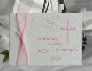 10 EINLADUNGSKARTEN zur Kommunion  - champagner/rosa