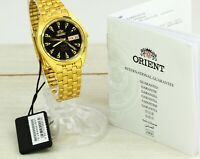NEW Orient 3 stars Crystal automatic men's watch day/date. Black dial