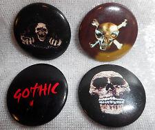 4 Gothic Buttons 2,5 cm Mini Pin Schädel Button Anstecker Deko GOR 76/7133 M1