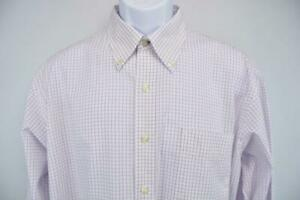 TOMMY HILFIGER Long Sleeve Dress Button Front Shirt White/Purple Men's L
