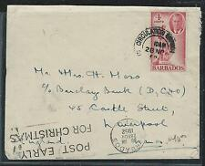 BARBADOS (PP2912B) KGVI 4C CIRCULATION BRANCH TO ENGLAND SLOGAN CANCEL