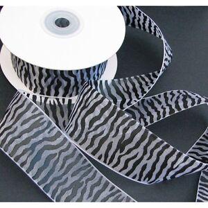 Sheer Organza Zebra Animal Print Ribbon, 25-yard