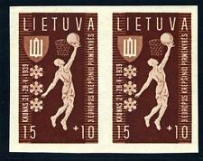 LITHUANIA SCOTT# B52 VAR MI# 429U PAIR IMPERFORATED MINT NH AS SHOWN
