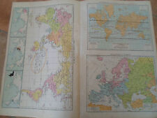 Old Maps RELIGIONS OF THE WORLD+ISOTHERMAL+WIND CHARTS From Universal Atlas 1893