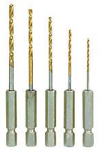 """New 5X HSS Quality Titanium Metal Drill Bit Set 1/4"""" HEX Shank 1.5mm to 5.0mm"""