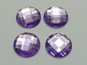 50 Purple Acrylic Flatback Rhinestone Round Gem Beads 20mm No Hole