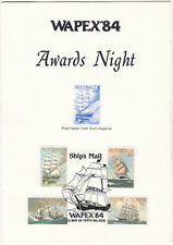 WAPEX 84 Stamp Exhibition Perth Western Australia Dinner Menu & awards, proof