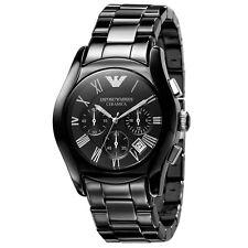 Emporio Armani AR1400 Ceramica Black and Silver Chrono Mens Watch Nuevo