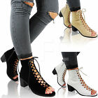 NEW WOMENS LADIES MID LOW BLOCK HEEL LACE UP PEEP TOE ANKLE BOOTS SHOES SIZE ZIP