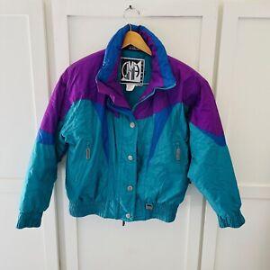 Vintage Cima Ladies Retro Skiwear Coat Teal Purple Insulated SIZE 10 Ski Jacket