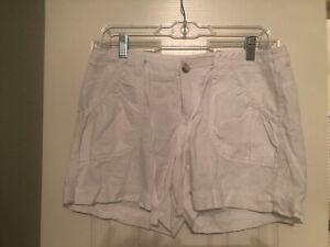 Women's Old Navy Size 8 Linen Blend Shorts Ultra Low Waist Khaki