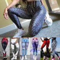 Women High Waist Sports Yoga Pants Leggings Print Fitness Gym Stretch Trousers A