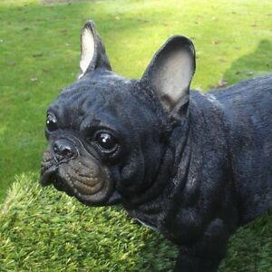 Gartenfigur Hund 48cm lang Französische Bulldogge schwarz 2500 lebensecht Figur