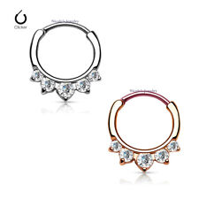 16g 316L Surgical Steel CZ Septum Hinged Clicker Nose Ring Body Piercing