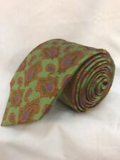 GENESIS Hand Made 100% Silk Tie Men's Green Purple Orange Paisley Necktie
