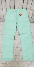 LEVI'S 501 SHRINK TO FIT RAW UNWASHED DENIM LIGHT GREEN JEANS MEN'S SIZE 34 X 32