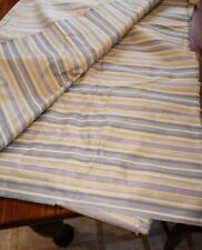 "Vintage Upholstery Fabric Textile 174"" X 56"" W Blue/Green/Gold Stripe   #10"