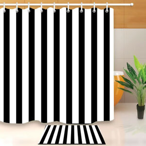 Black & White Stripes Design Shower Curtain Set Bathroom Waterproof Fabric Hooks