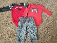 baby boy outfit size 6 months, long sleeve bodysuits, gray pants, 6 month lot