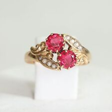 ANTIQUE SOLID 10K ROSE GOLD & RUBELLITE RING w ACCENTS, 2 grams, size 8, EXC