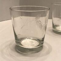 Sasaki (?) Etched Wheat Glasses Old Fashioned Rocks Lowball Whiskey Tumbler